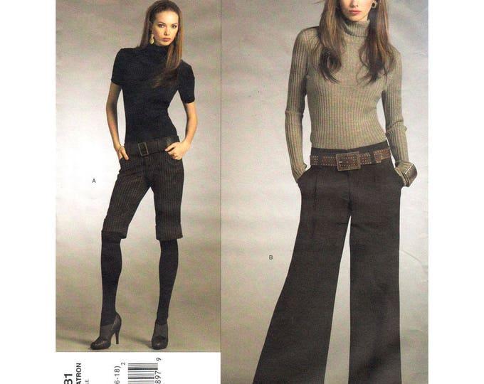 Womens Shorts Pants Pattern Vogue 2981 Wide Leg Pants Alice + Olivia Designer Size 12 14 16 18