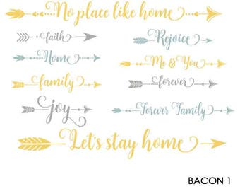 Arrow Words SVG Files, No Place Like Home, Cuttable SVG Quotes, Me and You Svg, Eps, Gsd, Ai, Vinyl Cut Files for Silhouette and Cricut