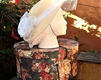 Vintage 1960s Straw Hat White Trim & Netting by Sonni San Francisco High Tea Kentucky Derby