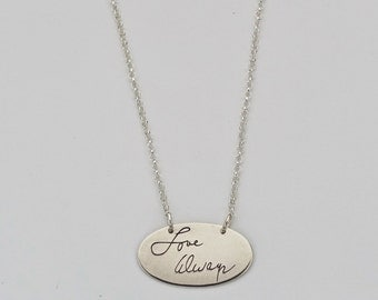Custom signature oval pendant - Handwriting Pendant - Sterling Silver Personalized Necklace - Personalized Oval necklace