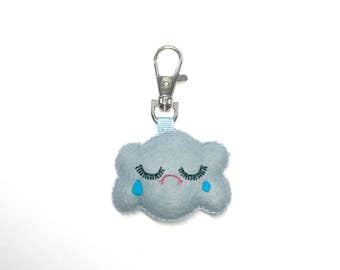 Cloud Keychain - Raincloud Charm - Rain Cloud Key Chain - Kawaii Key Chain - Cloud Charm - Bag Charms