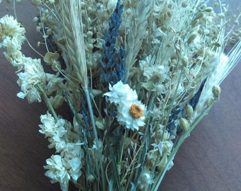 White Cutting Garden bouquet with lucky lavender