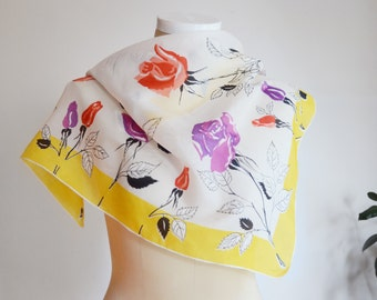 Mid Century Vintage Miss Pat Yellow Floral Scarf