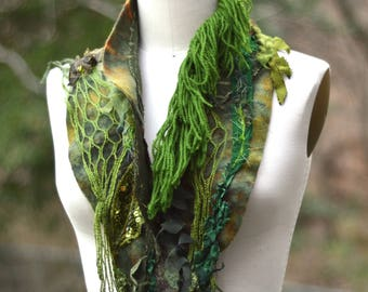 Green long OOAK Scarf/ Shawl, boho unique fantasy wrap, bohemian refashioned accessory, Woodland pixie textured scarf