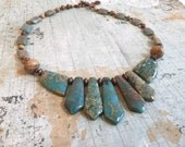 Christmas in July Sale Aqua Terra Jasper Necklace, Aqua Blue Gemstone Stylized Fan Necklace and Earring Set