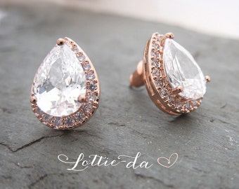 Vintage Style Rose Gold or Gold Pear Shaped earrings, Wedding teardrop earrings, Bridesmaid earrings, 1920s earrings - 'ANNIKA'