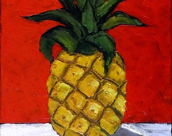 Impressionist PINEAPPLE Painting Tropical Garden Fruit Art Lynne French 11x14