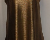 Plus Size Top, Coco and Juan, Lagenlook, Plus Size Tank, Liquid Gold Knit Drape Angled Tunic Tank, Size 1 Fits 1X,2X Bust to 50 inches