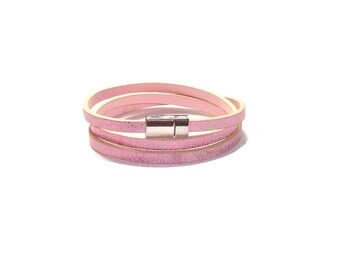 Pink Leather Wrap Bracelet , Genuine  Pink  Leather  ,  Silver  Magnetic Clasp