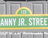 "HUGE Sesame Street Sign . 16"" x 44"" . Personalized . Printed on Removable Sticker Material"