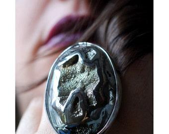 Dollybird Fossil Drusy Ammonite Ring
