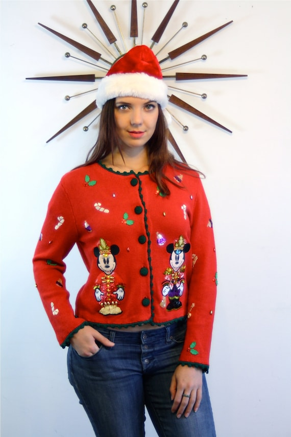 Vintage Micky Minnie Mouse Holiday Sweater Walt Disney World Red Knit Jumper Rhinestone Sequin Beaded Button Cardigan Ugly Christmas Sweater