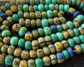 "Picasso Seed Beads, 4/0 Czech Seed Beads, Aged Picasso- Blue/ Green Striped Mix (1/20"") #502"