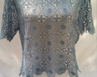 blue lace top, vintage blue top, 90s does 70s, blue lace blouse, gypsy top, womens hippie top, all lace top