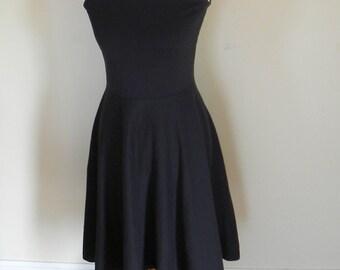 Sale Size XSmall Black Edinburg Organic Cotton Jersey Knit Dress Made in the USA - Organic Cotton Clothing