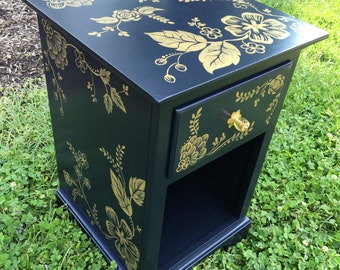 Hand Painted Navy and Gold Nightstand, End Table, Furniture, Floral Pattern