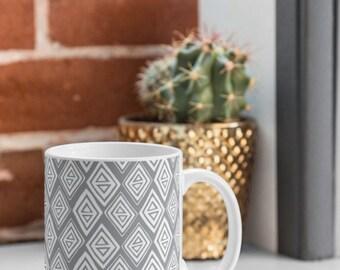 Grey Geometric Coffee Mug // Ceramic Coffee Cup // Tea Cup // Kitchen Drinkware // Home Decor // Diamond In The Rough Grey Design // Boho