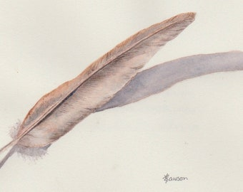 Original watercolour feather painting ~ Sleek feather with shadow