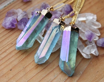 Light Blue Angel Aura Quartz Gold Dipped Necklace - Rough Clear Raw Point Rainbow Pastel Crystal Teal Gold Plated Chain, Natural Layering