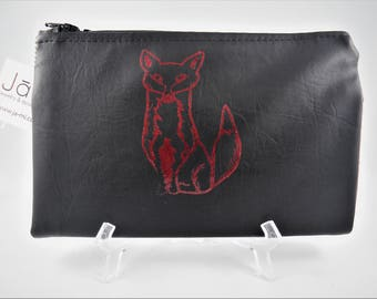 Vegan Wallet, Vegan Wallet Women, Vegan Leather Wallet, Vegan Leather Fabric, Red Fox, Black Wallet, Black Vinyl, Wallet, Womens Wallet