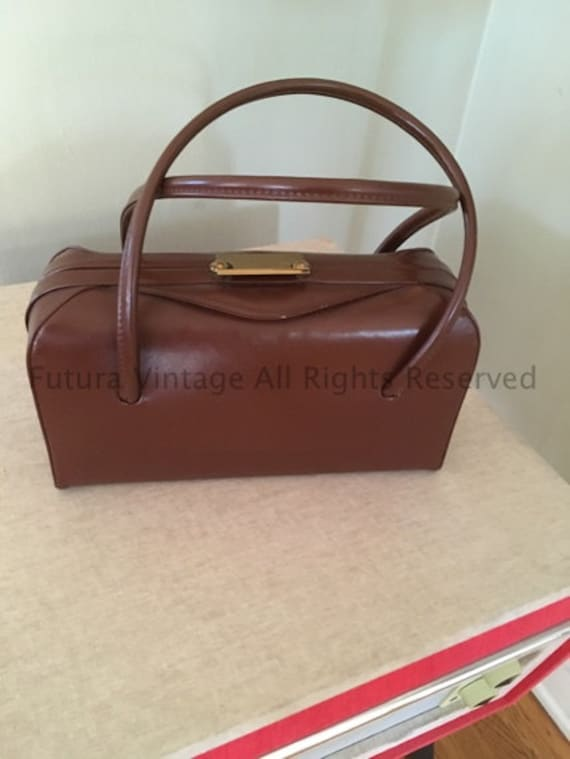 1950s Cutest Brown Vinyl Handbag
