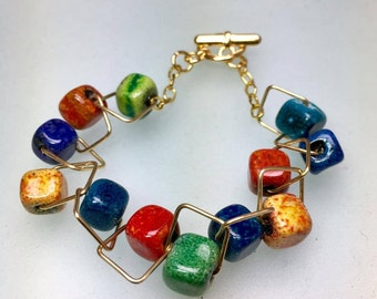 Gold geometric cube enamel glass bracelet, rainbow bright colorful square ooak bracelet Valentines day gifts for her designer jewelry