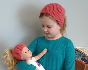 Girl and doll hat Matching beanies  Ponytail beanies Messy bun beanies  Me and my dolly
