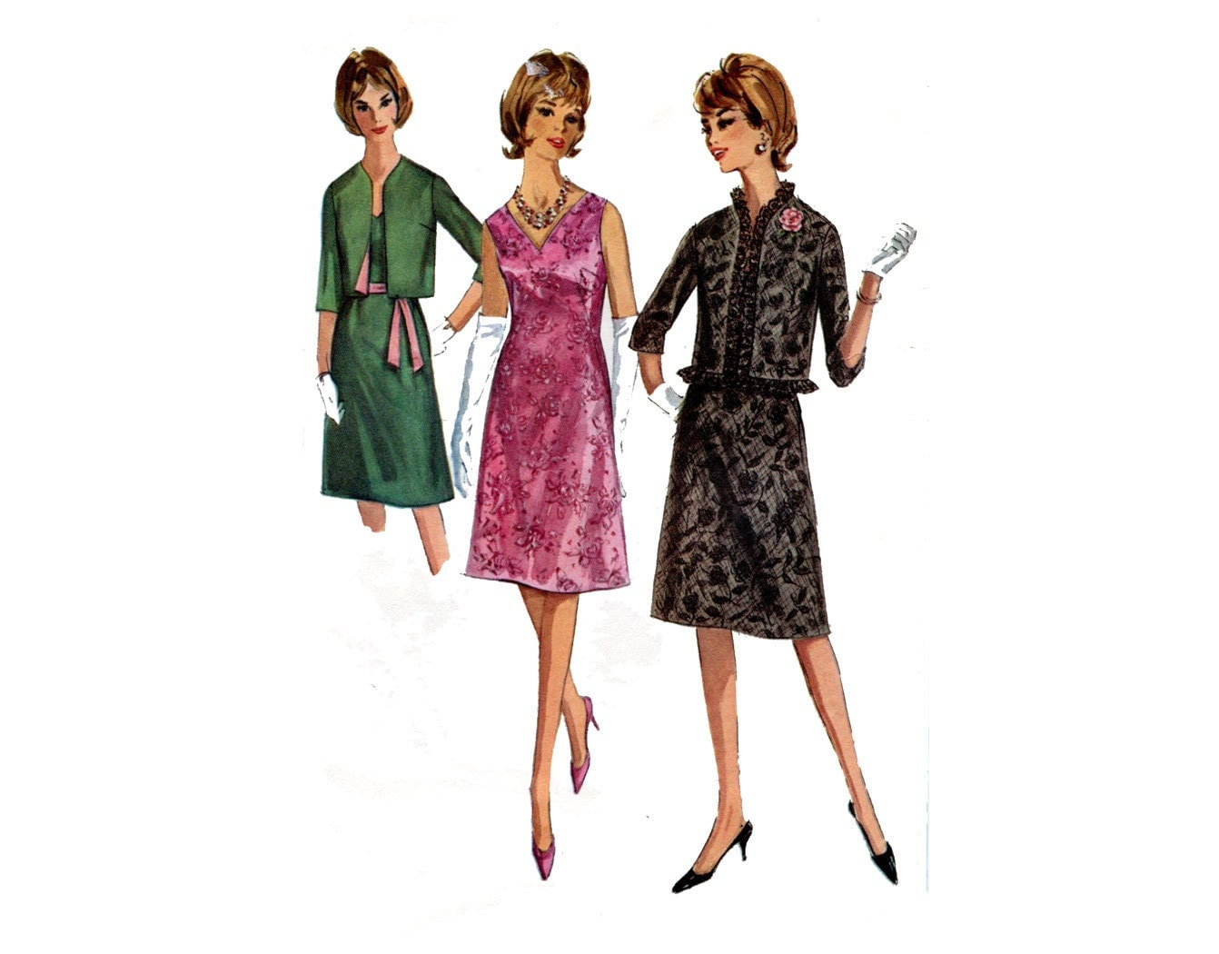 1960s Dress and Jacket Pattern Sleeveless Dress A Line V ...