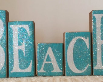 Beach Blocks Blue Wood Glitter Blocks Beach Home Decor Set of Five Wood Shelf Sitters