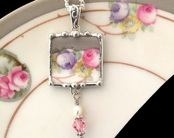 Broken china jewelry. broken china lavendar and pink roses broken china jewelry pendant necklace recycled china, with pearl and crystal