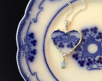 Broken China Jewelry Heart Pendant necklace antique flow blue clover shamrock china - Swarovski crystal