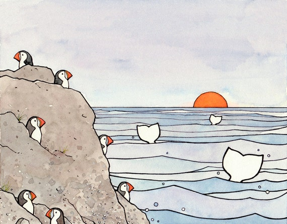 Whales and Puffins drawing, 8x10 art print