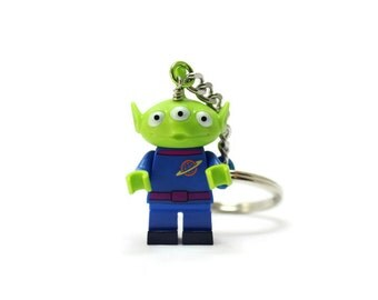 Green Alien Keychain - made from new LEGO ® Minifigure