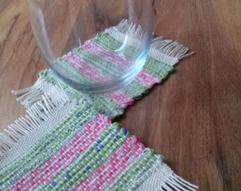 Tiki Bar Coasters handwoven recycled  Margaritaville Mug Rugs Green and pink 4x4 inches in size