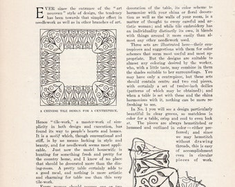 1908 Household Article: An Embroidered Luncheon Set Chinese Tile Hungarian Delft Blue Needlework designs