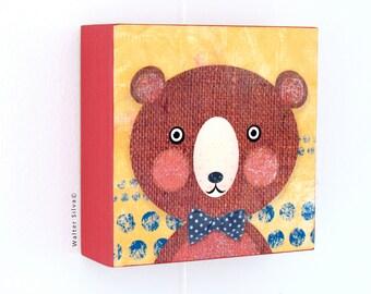 Bear with Bow tie Nursery Wall Art Panel - Baby Nursery decoration READY TO HANG - Woodland Nursery Decor