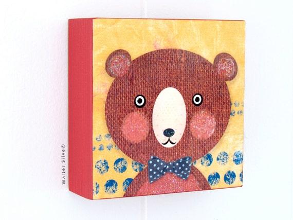 Bear with Bow tie Nursery Wall Art Panel - Baby Nursery decoration READY TO HANG