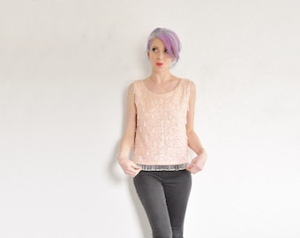 mod scallop beaded pink tank top . pastel sequin sparkle blouse .medium
