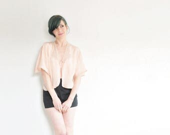 pink silk art deco lingerie top . scalloped lace 1930 bed jacket .medium.large