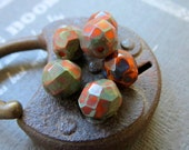 NEW TERRACOTTA Rounds . Czech Fire Polished Picasso Glass beads (10+ beads) 8  mm