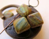NEW EARTHY SQUARES . Czech Picasso Glass Beads (10 beads) 10 mm