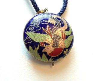 Cloisonne Bird Necklace Cobalt Blue Double Sided