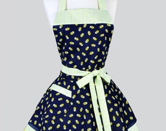Ruffled Retro Womans Apron - Lime Green and Navy Blue Bandanna Cute Vintage Style Full Kitchen Apron with Pockets to Personalize or Monogram