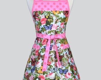 50s Style Retro Apron - Cottage Garden Pink Butterfly Floral Womans Vintage Inspired Cute Housewife Kitchen Apron to Monogram Embroidery