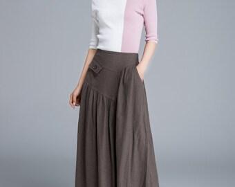 brown skirt, linen skirt, long skirt, high waisted skirt, pocket skirt, ladies skirt, pleated skirt, summer skirt, plus size skirt 1660