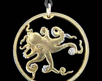 Cut Coin Jewelry - Pendant - Tuvalu - Octopus