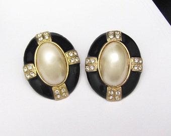 Black Earrings Vintage Rhinestone Pearl Statement Runway Bold