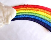 Vintage Satin 1980s Room Decor Wall Ceiling Hanging Rainbow by Russ
