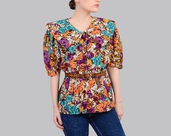 Vintage 80s Floral Blouse | Large Collared Shirt | Cotton Blouse Short | Retro Sleeve Top | Painterly Print | Purple Brown Orange | Size L