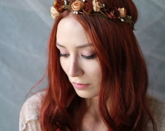 Rustic flower crown, autumn hair wreath, woodland circlet, twiggy headpiece, fall hair accessories, flower hair wreath, woodland wedding